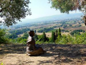 St. Francis at San Damiano, looking out over the valley in Assisi, Umbria, Italy